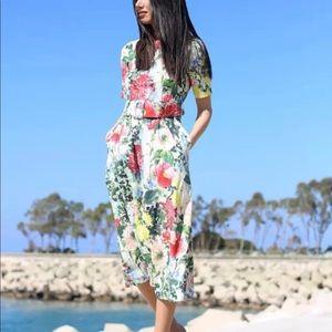 Zara Print floral dress sz large
